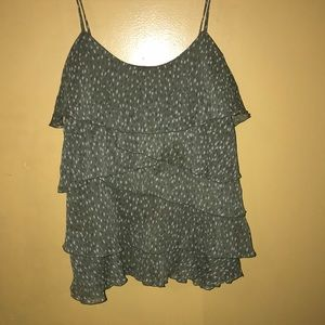 Ruffled olive green camisole top!